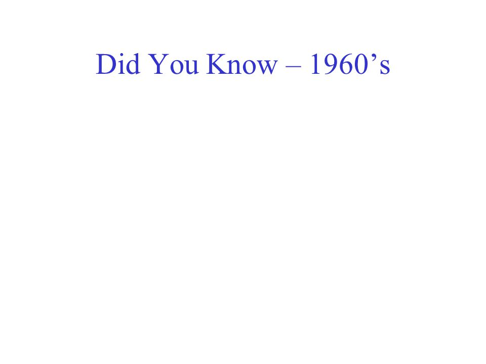 Did You Know – 1960's