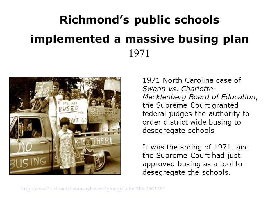 Richmond's public schools implemented a massive busing plan 1971