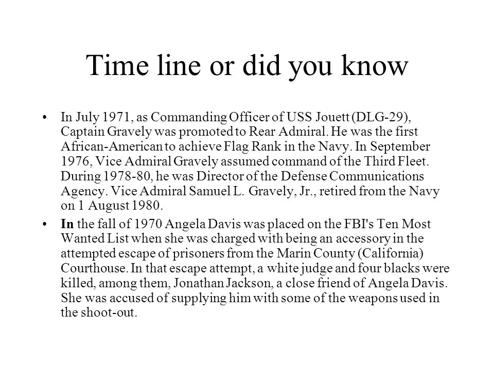 Time line or did you know