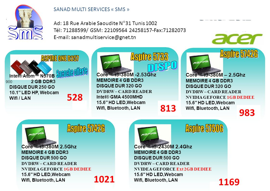 528 813 983 1021 1169 SANAD MULTI SERVICES « SMS »