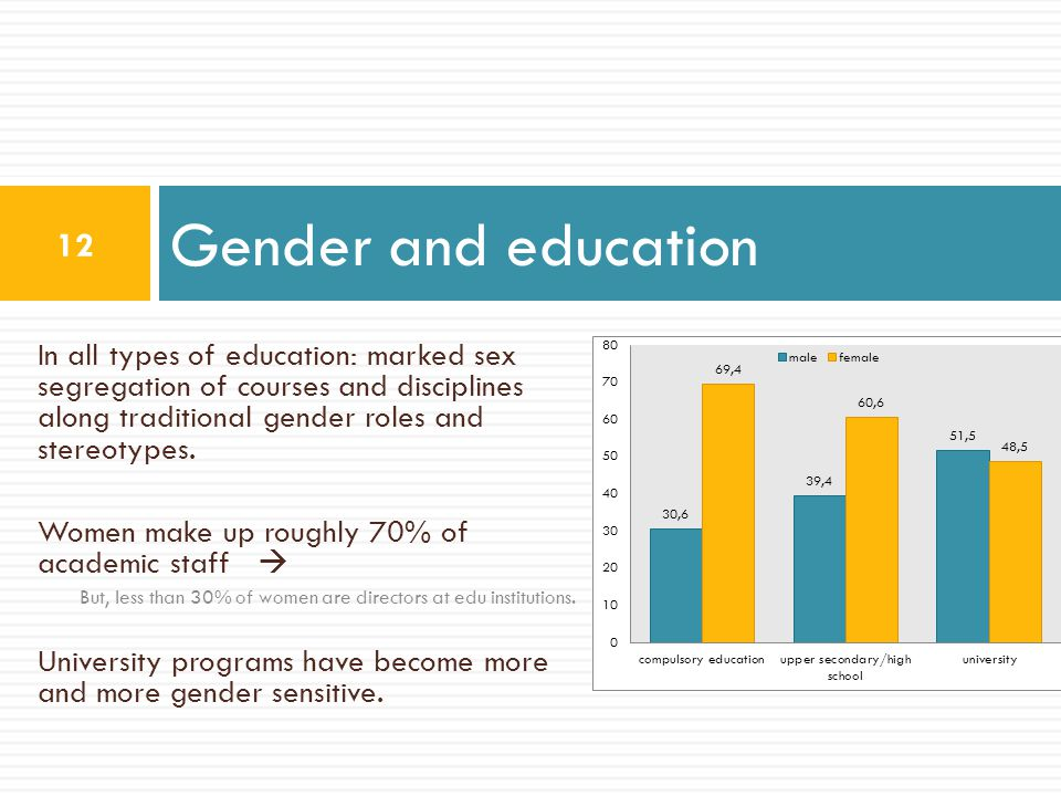 Gender and education In all types of education: marked sex segregation of courses and disciplines along traditional gender roles and stereotypes.