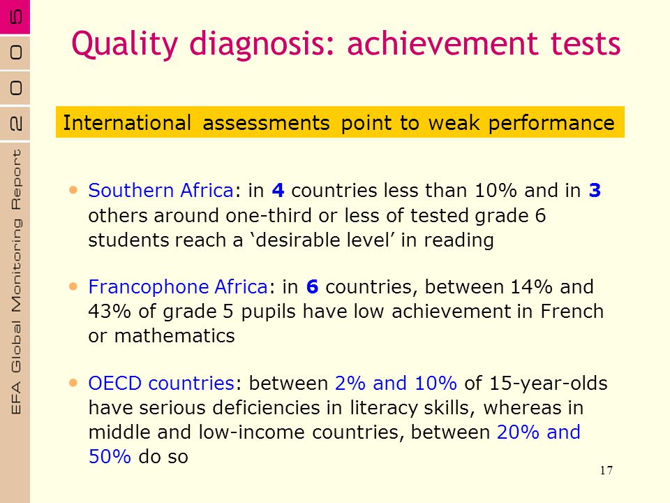 Quality diagnosis: achievement tests