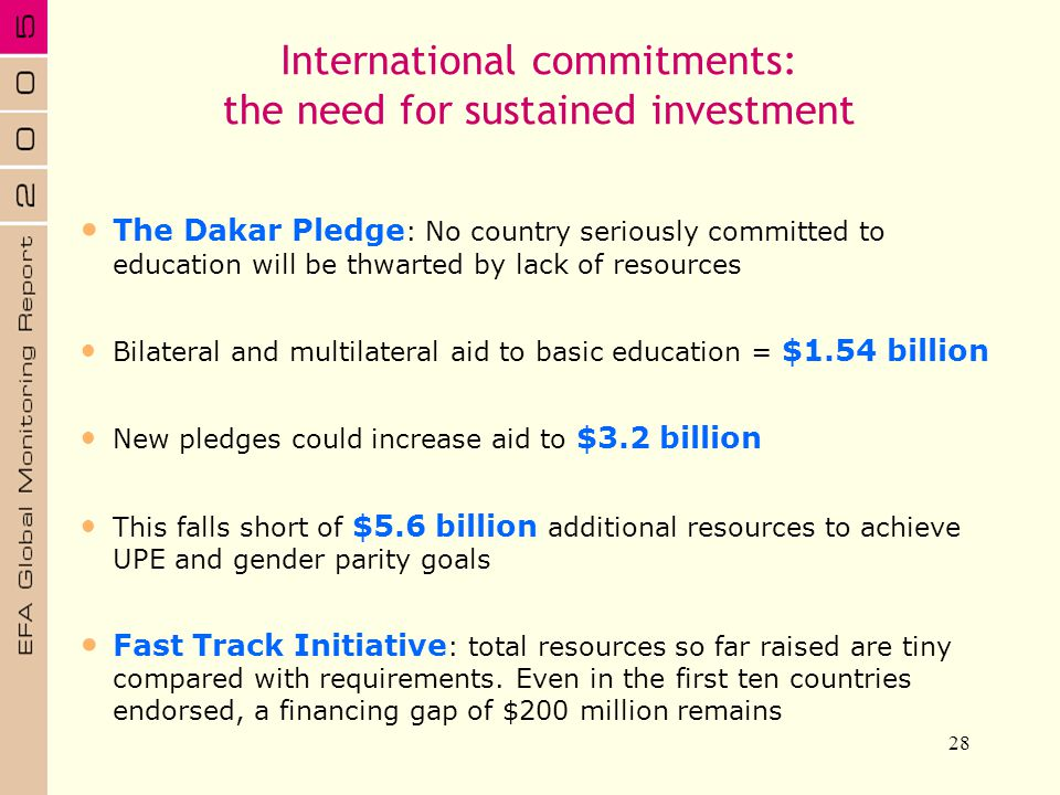 International commitments: the need for sustained investment