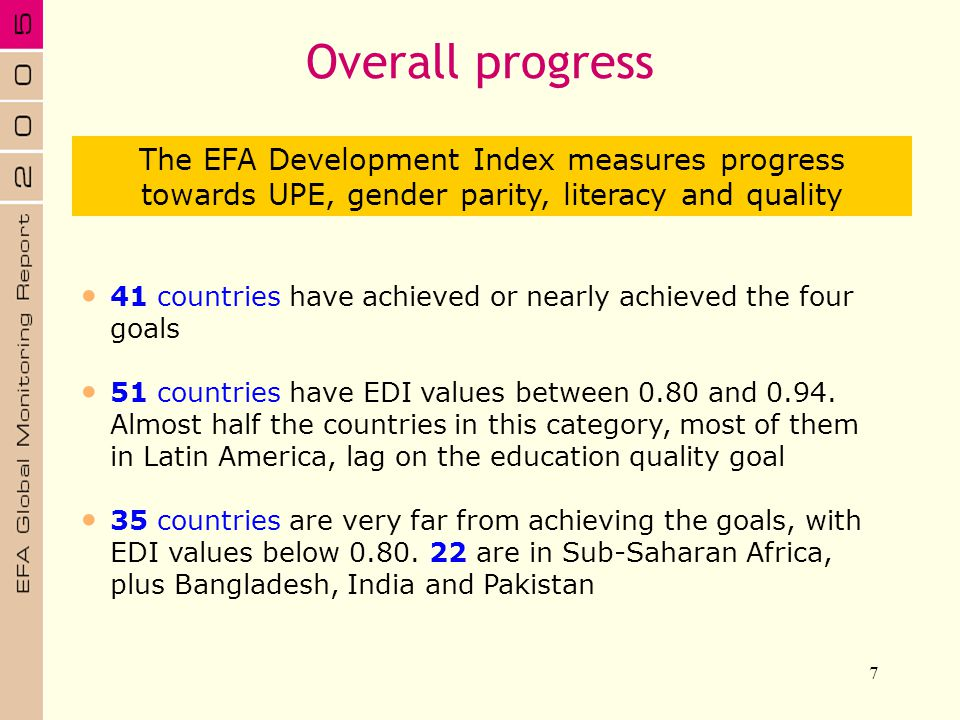 Overall progress The EFA Development Index measures progress towards UPE, gender parity, literacy and quality.