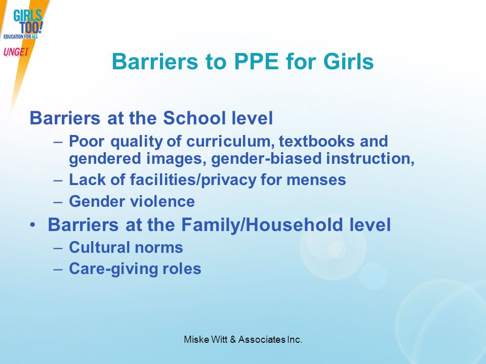 Barriers to PPE for Girls