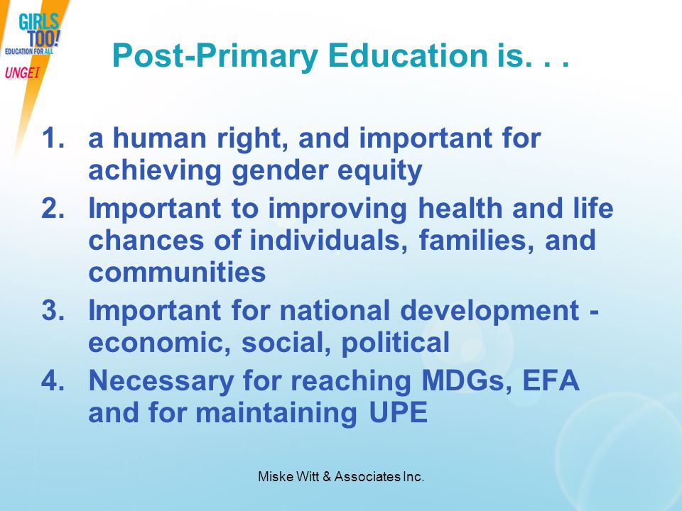 Post-Primary Education is. . .
