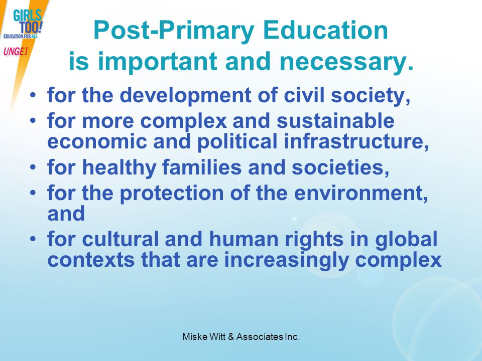 Post-Primary Education is important and necessary.
