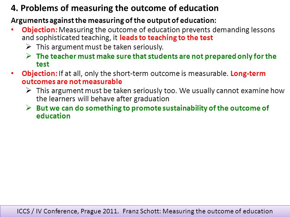 4. Problems of measuring the outcome of education