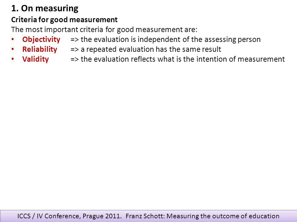 1. On measuring Criteria for good measurement