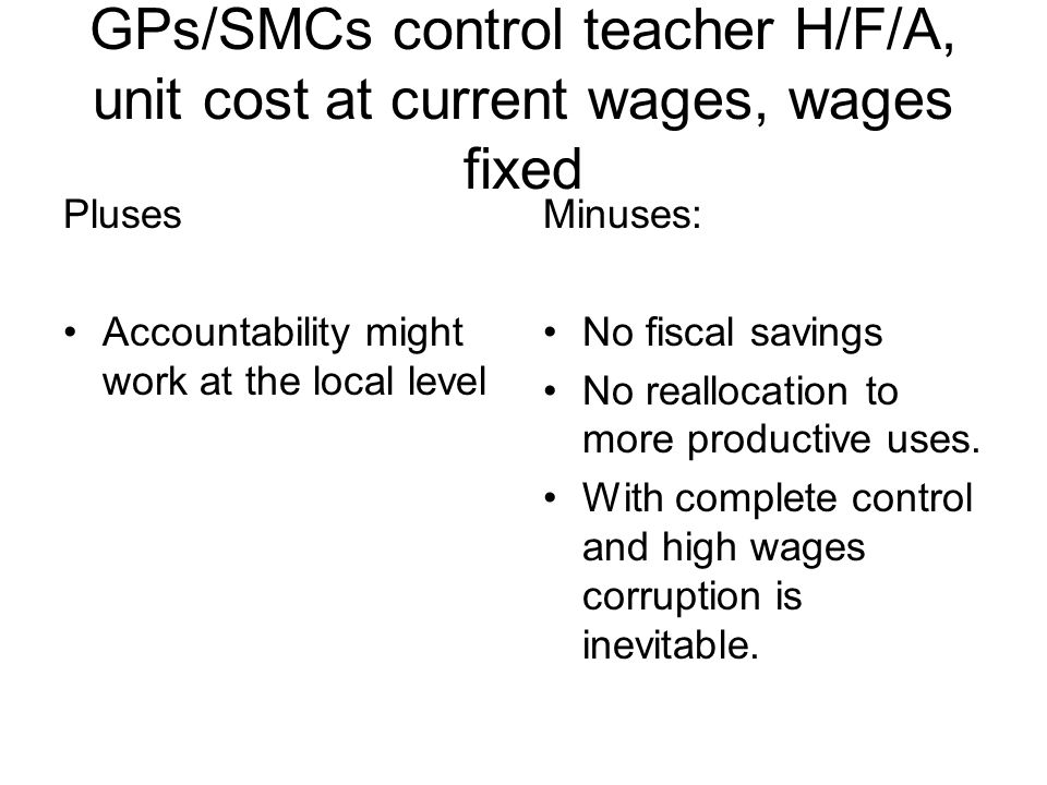 GPs/SMCs control teacher H/F/A, unit cost at current wages, wages fixed