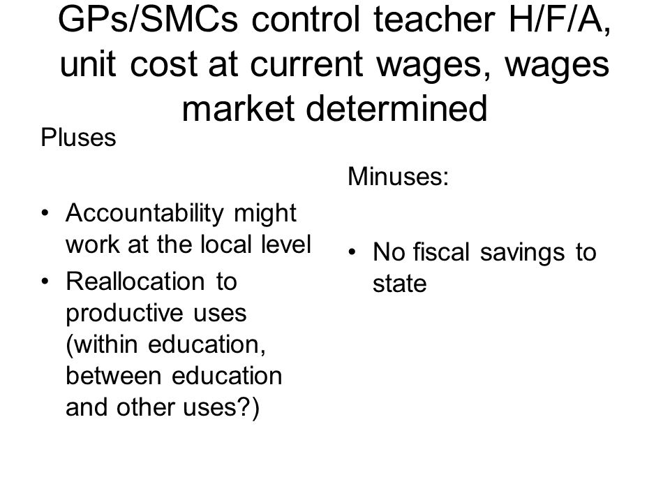 GPs/SMCs control teacher H/F/A, unit cost at current wages, wages market determined