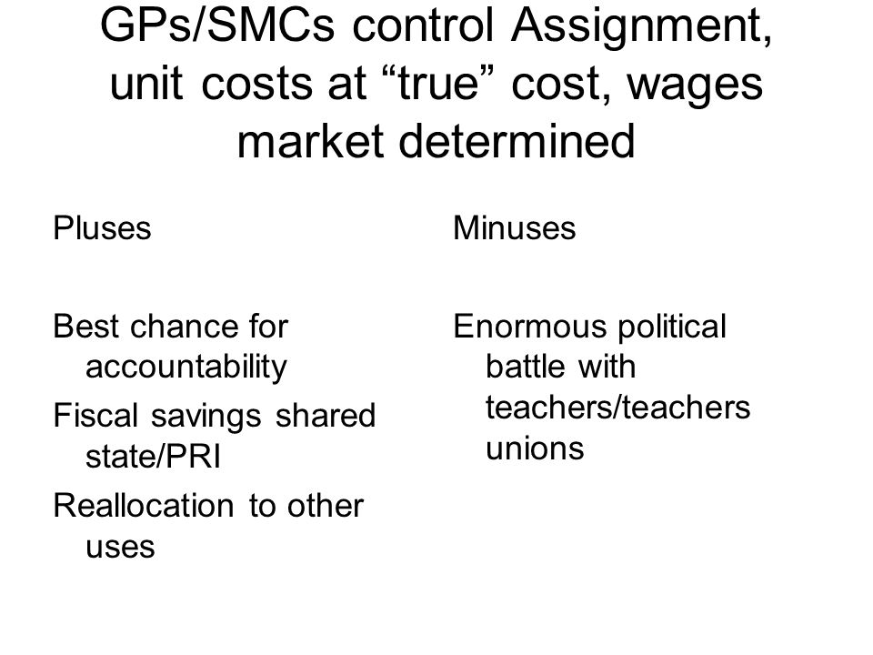 GPs/SMCs control Assignment, unit costs at true cost, wages market determined