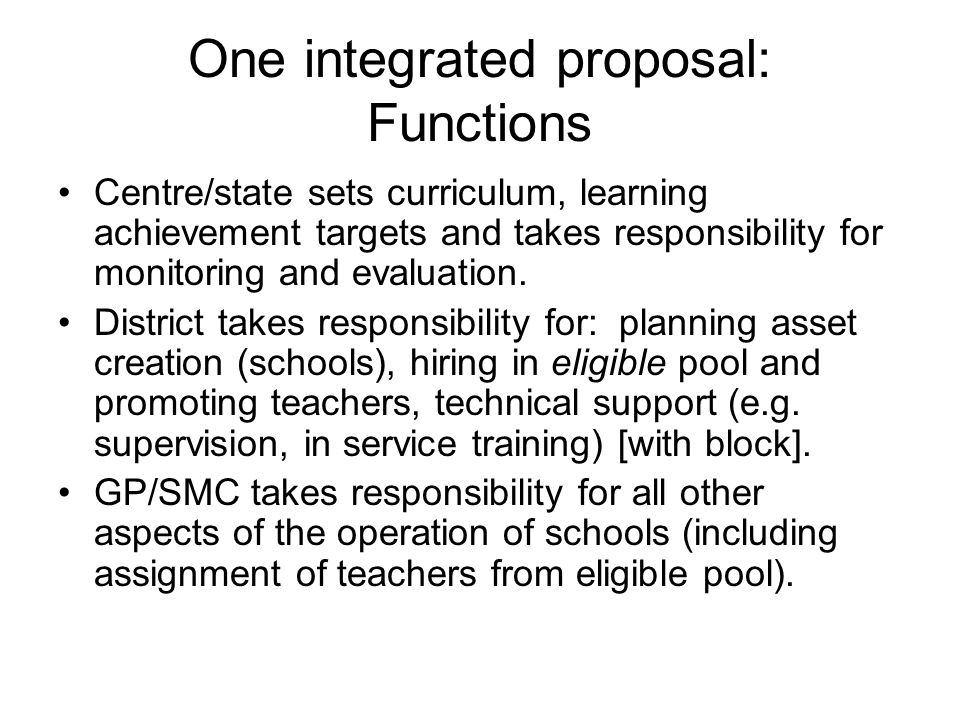 One integrated proposal: Functions