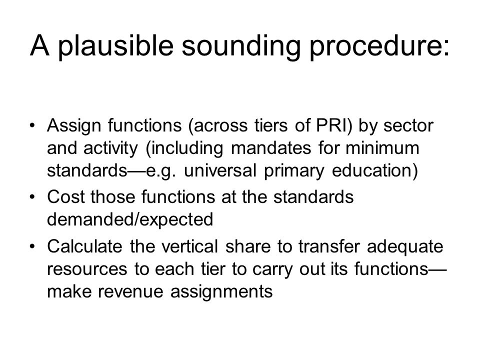 A plausible sounding procedure: