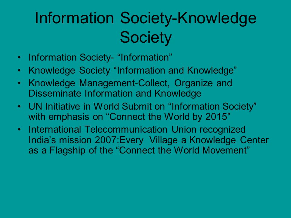 Information Society-Knowledge Society