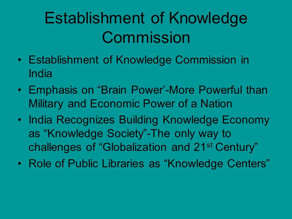Establishment of Knowledge Commission