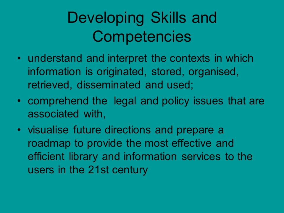 Developing Skills and Competencies