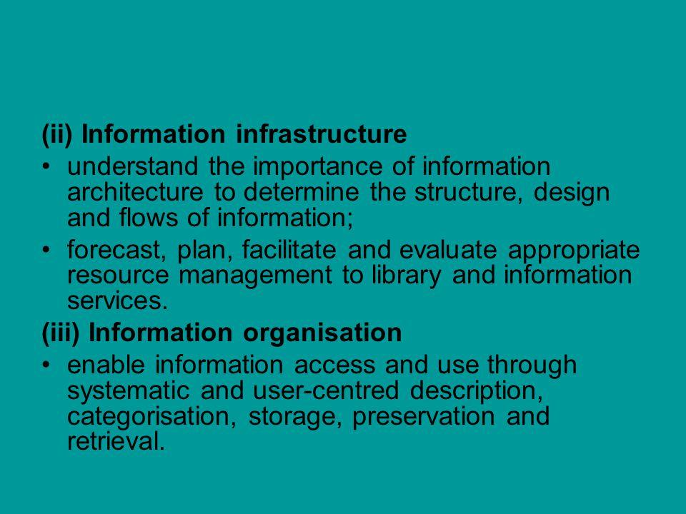 (ii) Information infrastructure