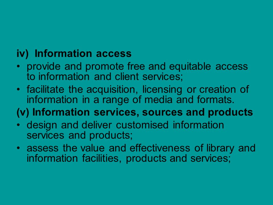 iv) Information access