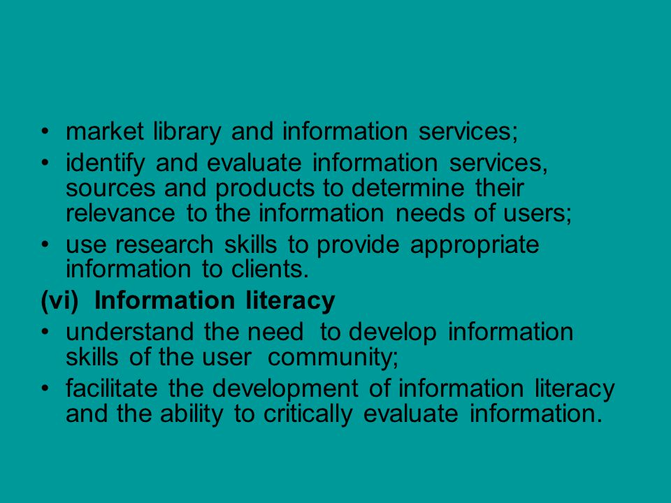 market library and information services;