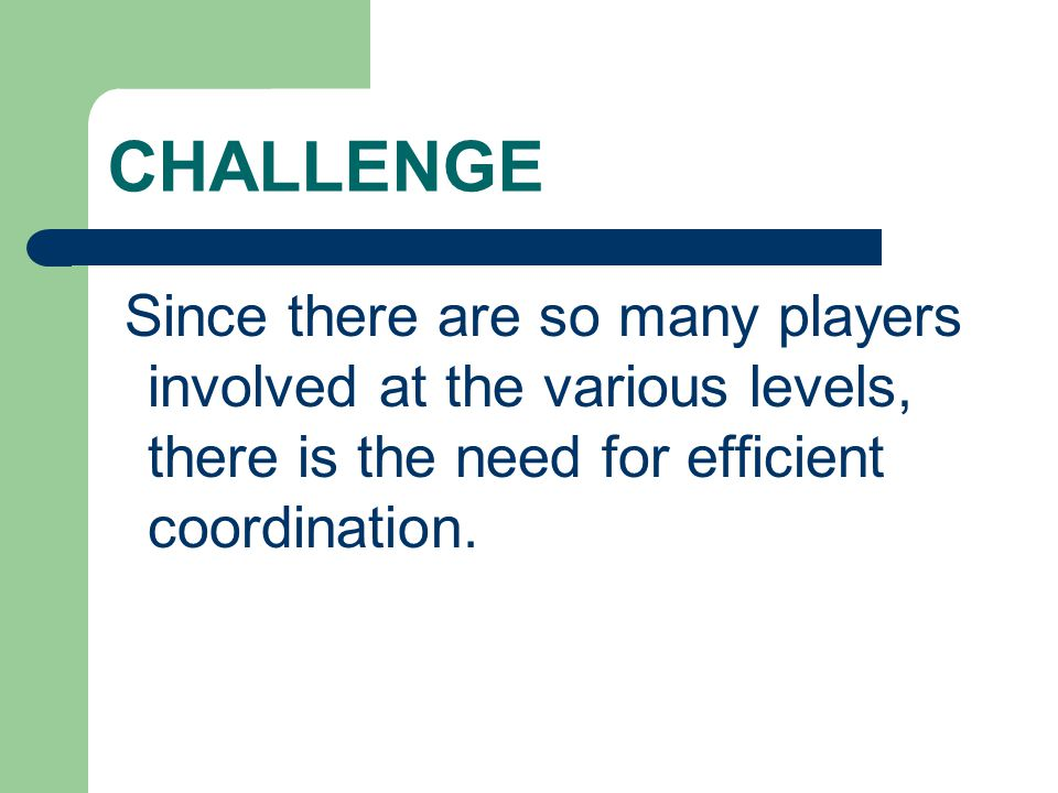 CHALLENGE Since there are so many players involved at the various levels, there is the need for efficient coordination.