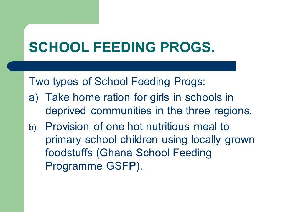SCHOOL FEEDING PROGS. Two types of School Feeding Progs: