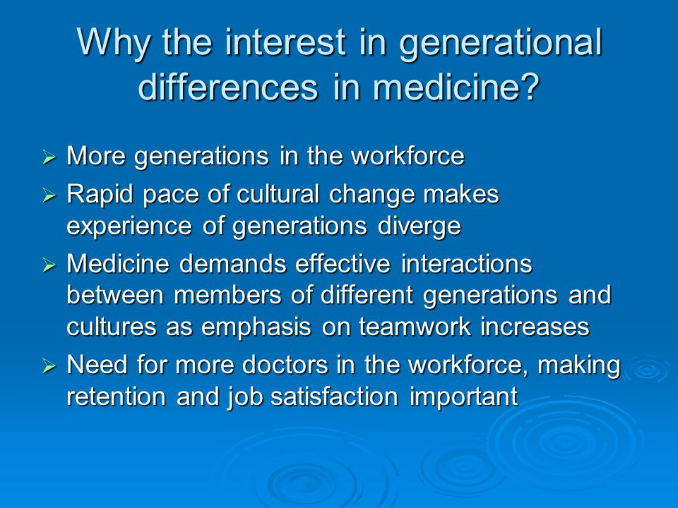 Why the interest in generational differences in medicine