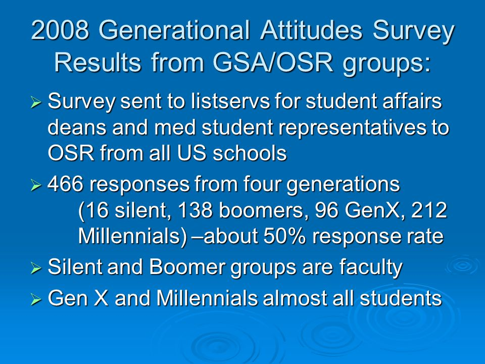 2008 Generational Attitudes Survey Results from GSA/OSR groups: