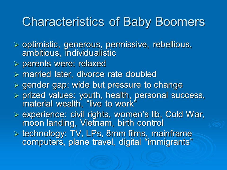 Characteristics of Baby Boomers