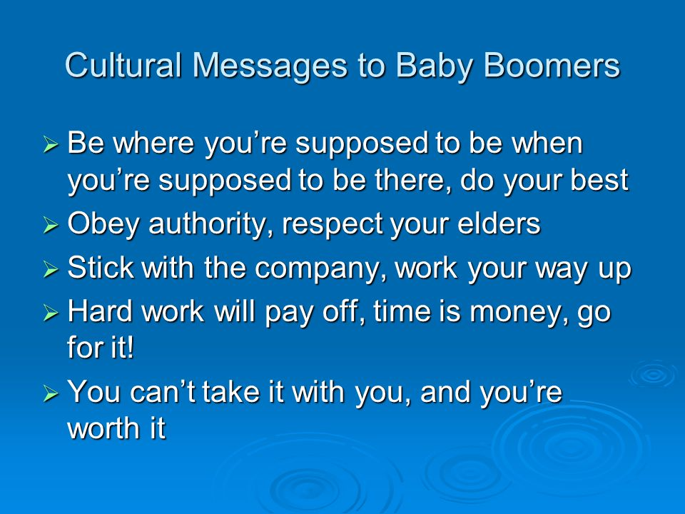 Cultural Messages to Baby Boomers