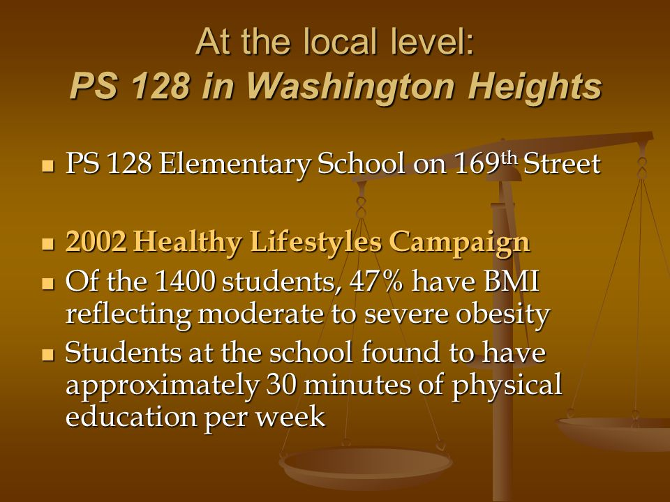 At the local level: PS 128 in Washington Heights