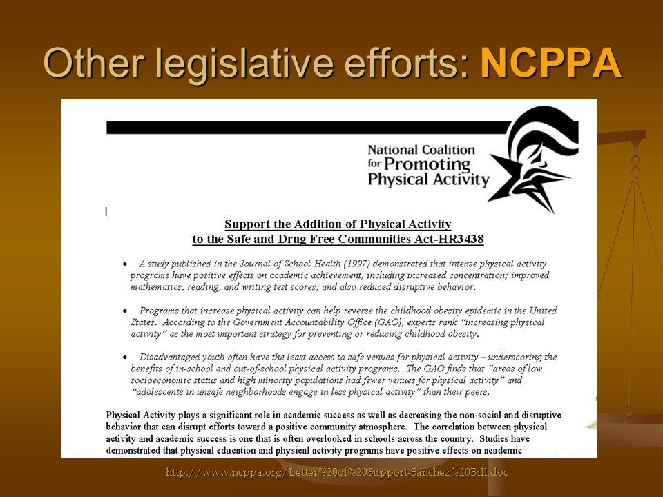 Other legislative efforts: NCPPA