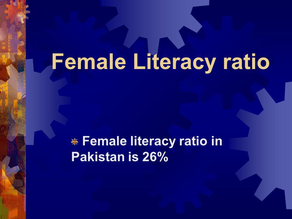 Female literacy ratio in Pakistan is 26%