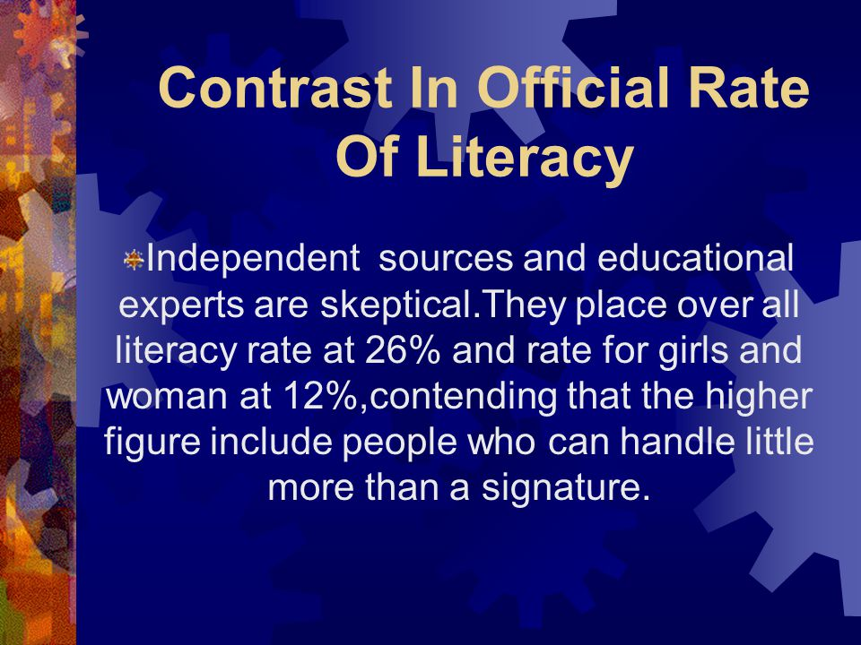 Contrast In Official Rate Of Literacy