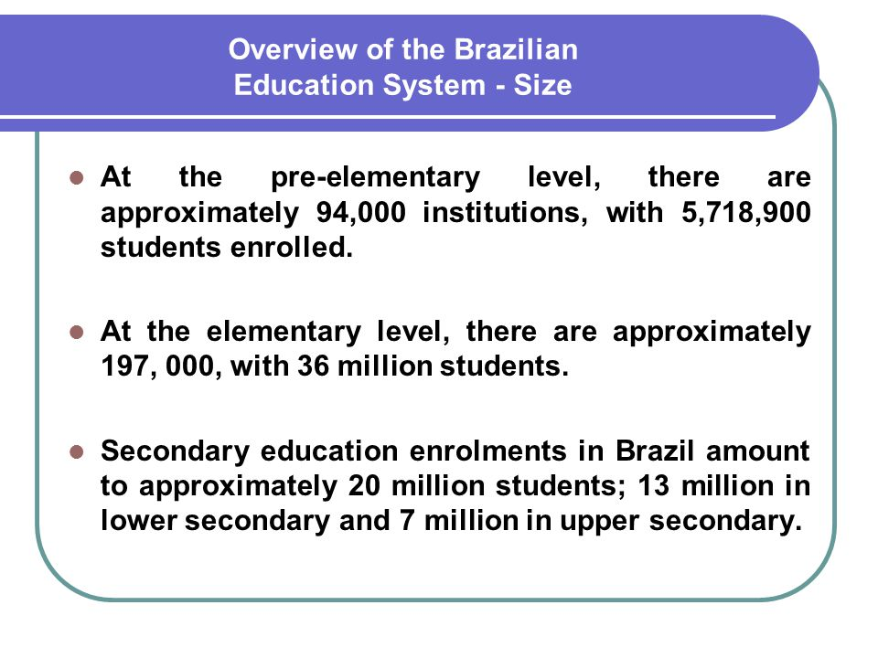 Overview of the Brazilian Education System - Size
