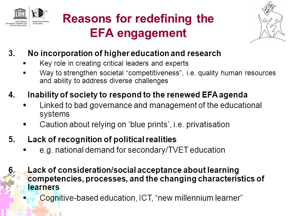 Reasons for redefining the EFA engagement