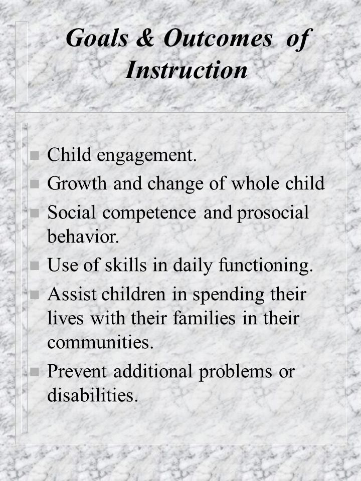 Goals & Outcomes of Instruction