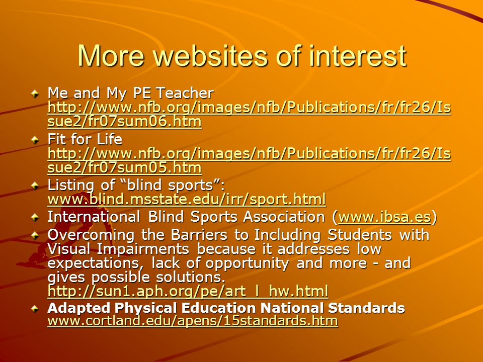 More websites of interest