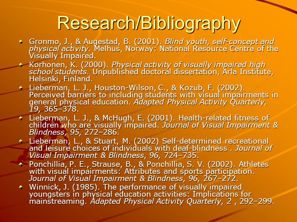 Research/Bibliography