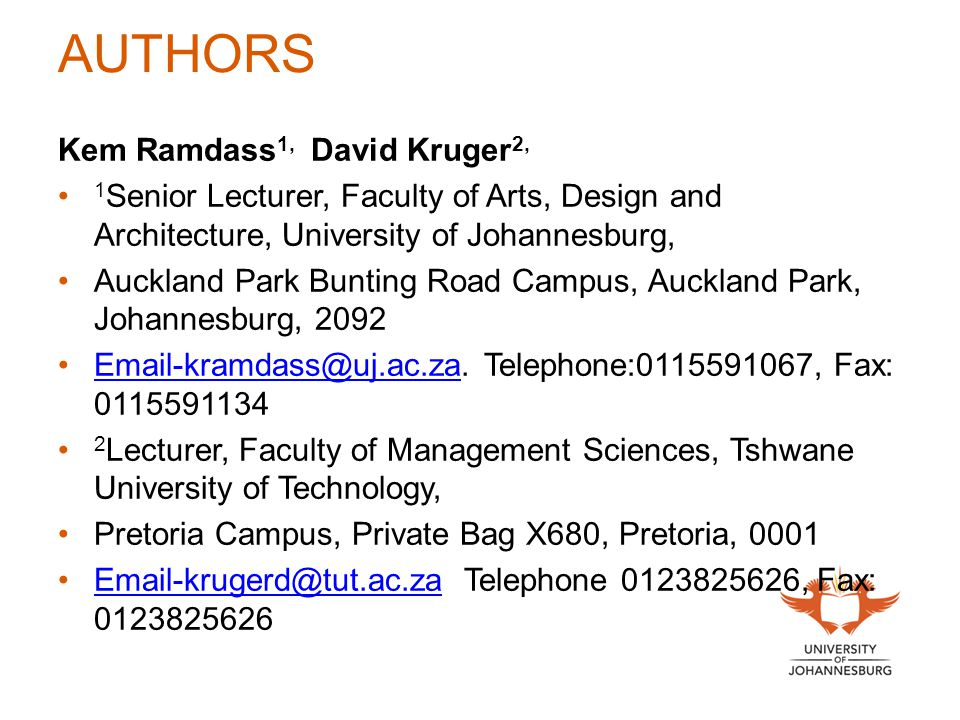 AUTHORS Kem Ramdass1, David Kruger2,