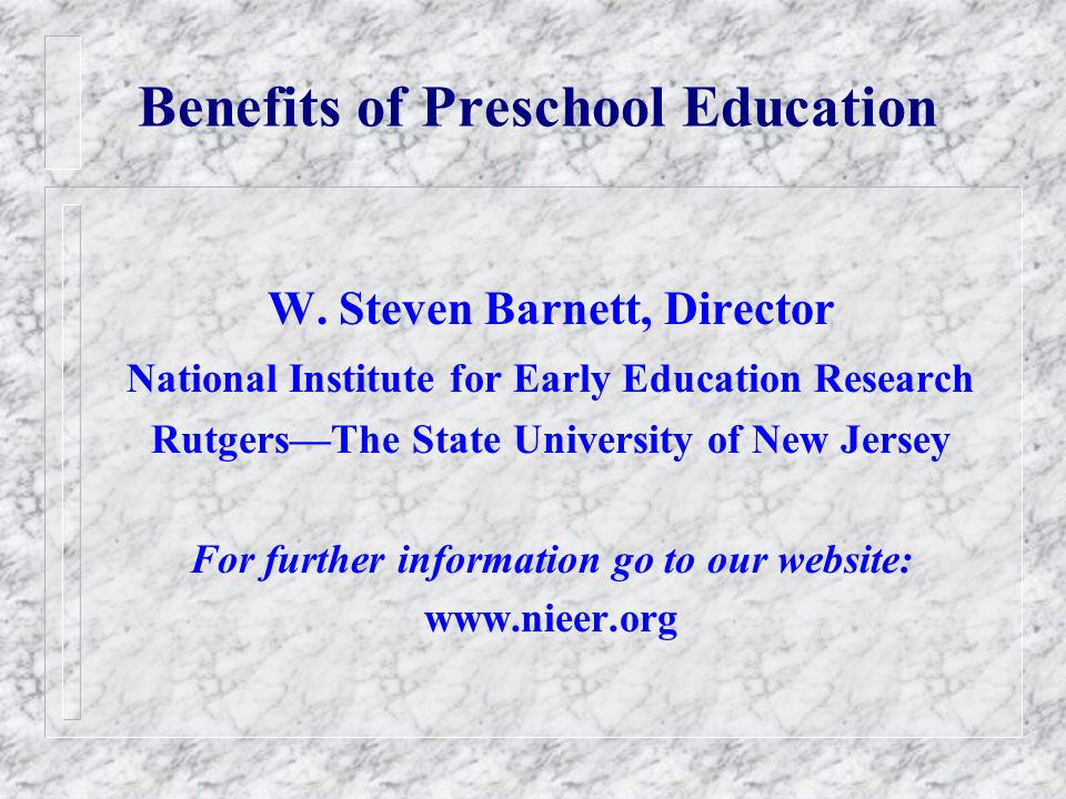 Benefits of Preschool Education