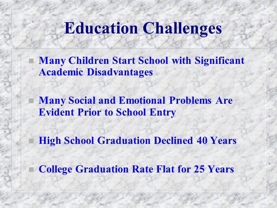 Education Challenges Many Children Start School with Significant Academic Disadvantages.