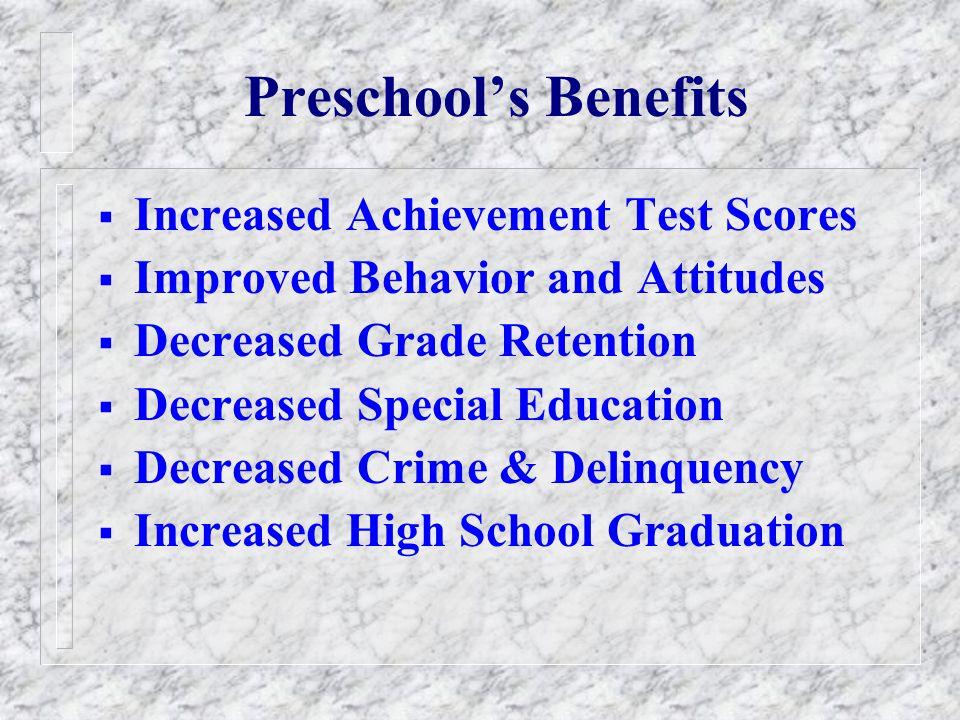 Preschool's Benefits Increased Achievement Test Scores