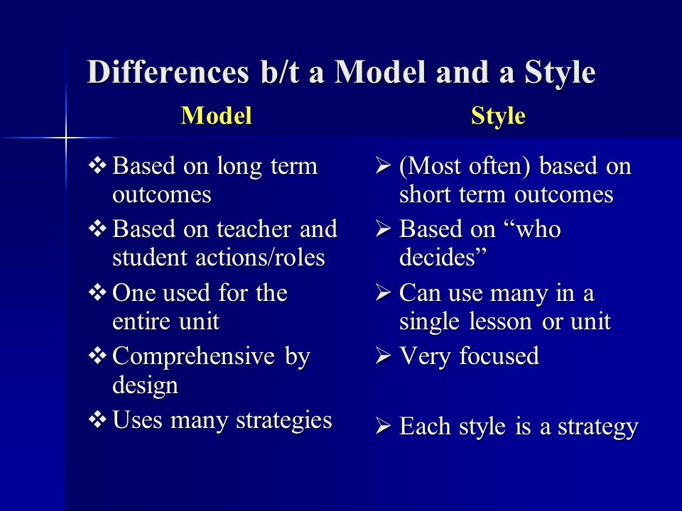 Differences b/t a Model and a Style Model Style