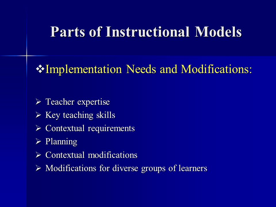 Parts of Instructional Models