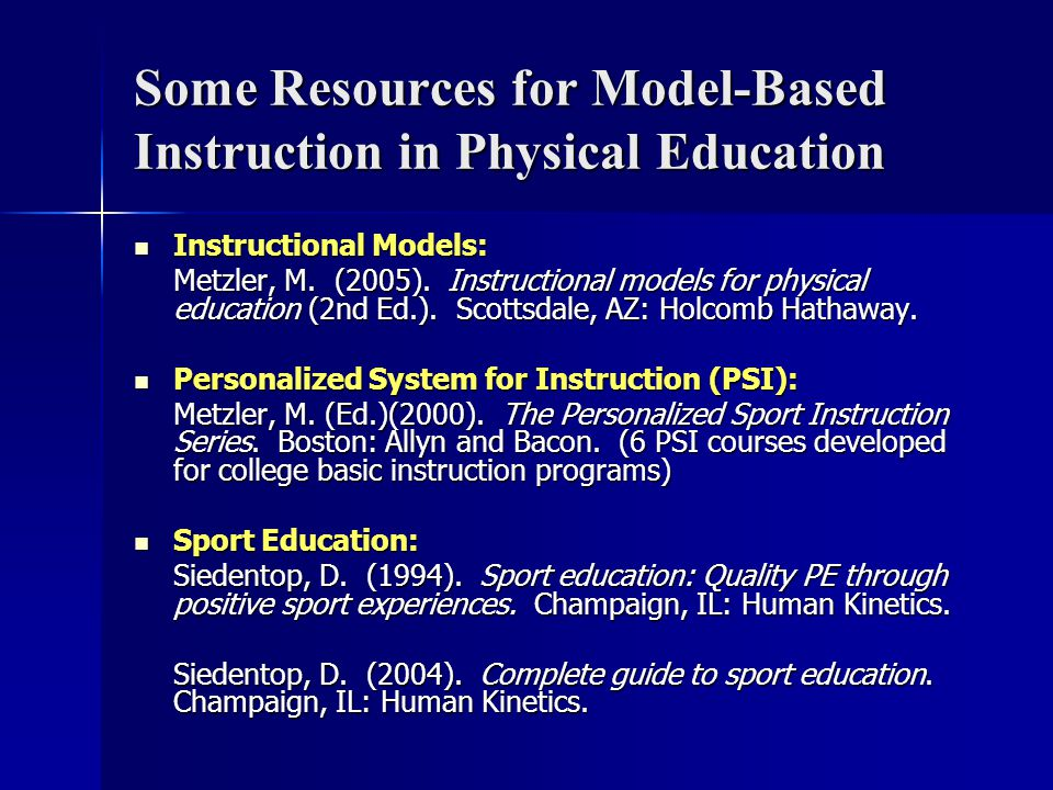 Some Resources for Model-Based Instruction in Physical Education