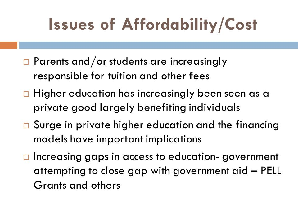 Issues of Affordability/Cost