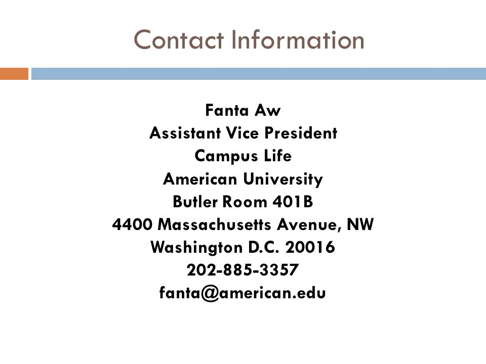 Assistant Vice President 4400 Massachusetts Avenue, NW
