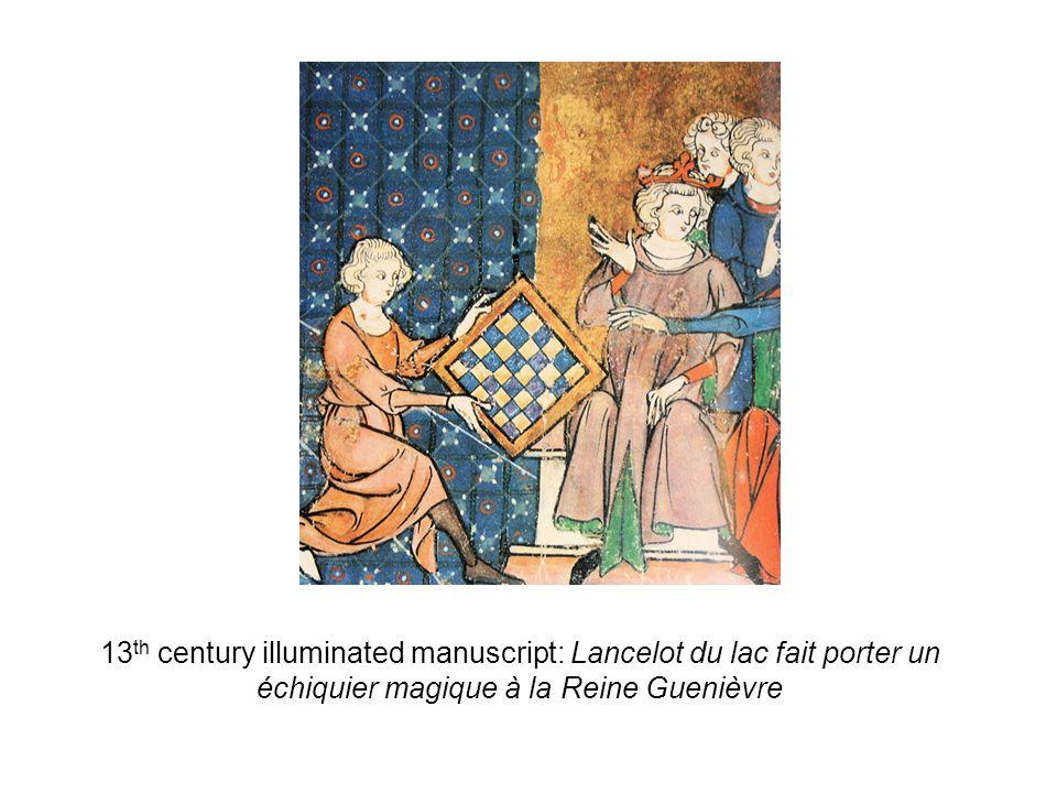 13th century illuminated manuscript: Lancelot du lac fait porter un échiquier magique à la Reine Guenièvre