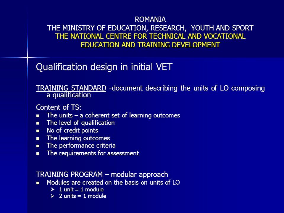 Qualification design in initial VET